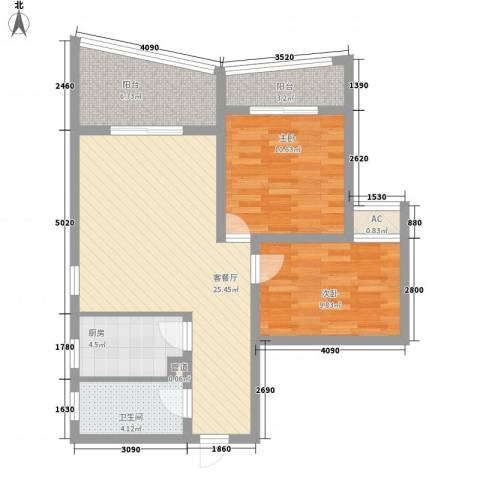 荣奇创业中心2室1厅1卫1厨95.00㎡户型图