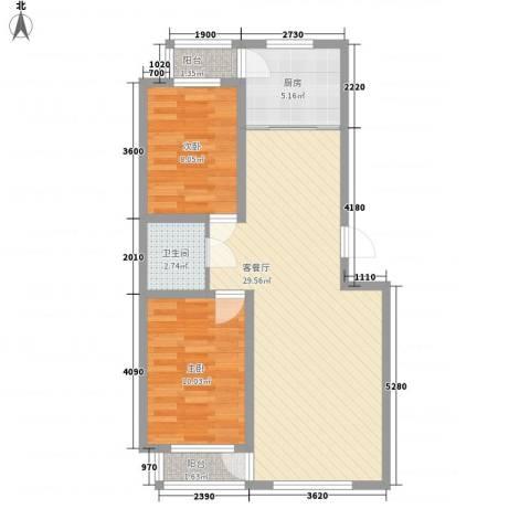 佳地天成2室1厅1卫1厨84.00㎡户型图