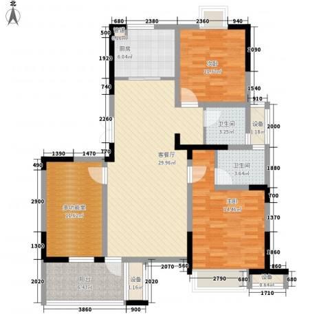 长江国际花园2室1厅2卫1厨119.00㎡户型图