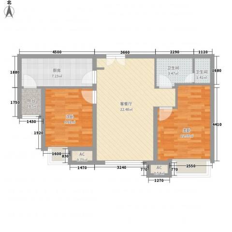 太原富力现代广场2室1厅2卫1厨83.00㎡户型图
