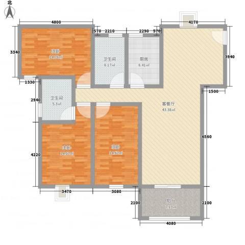 淮海新公馆3室1厅2卫1厨161.00㎡户型图