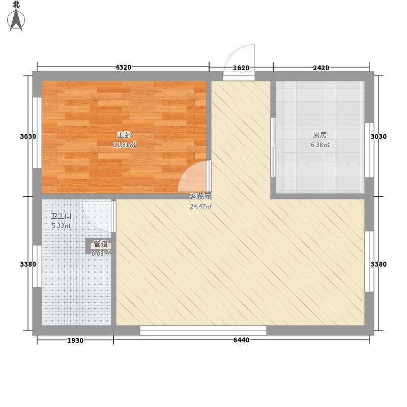兴业67.23㎡小区E户型1室2厅1卫1厨