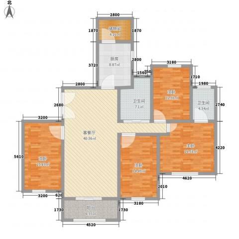 东方剑桥4室1厅2卫1厨186.00㎡户型图