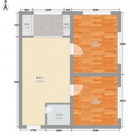 绿城新干线2室1厅1卫1厨48.13㎡户型图