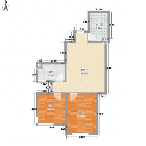 安邦阳光尚城2室1厅1卫1厨79.00㎡户型图