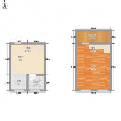 翠屏湾2期兰卡威小镇1室1厅1卫0厨62.00㎡户型图