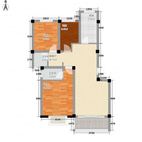 兴达绿郡3室1厅2卫1厨99.00㎡户型图
