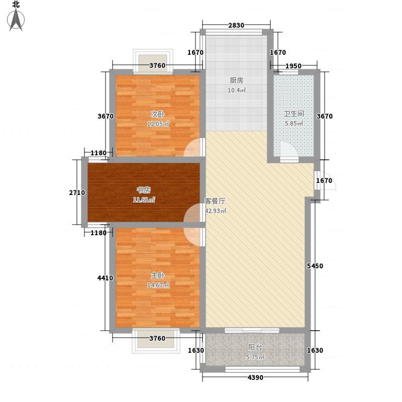 金牛湾都市花园112.00㎡F户型3室2厅1卫1厨