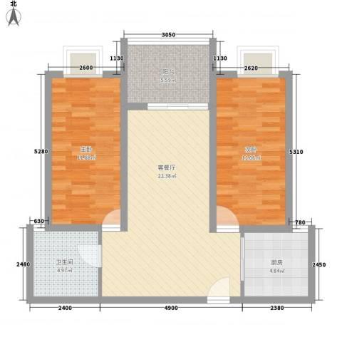 随园锦湖公寓2室1厅1卫1厨89.00㎡户型图