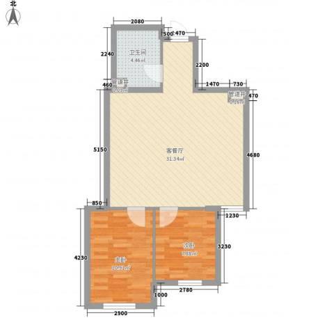 安邦阳光尚城2室1厅1卫0厨81.00㎡户型图