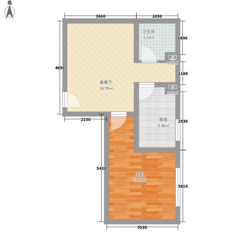 华都嘉苑65.60㎡1#楼G户型1室1厅1卫1厨