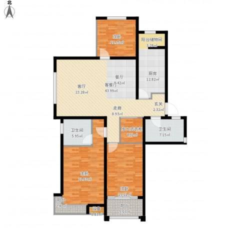 东方明珠广场3室1厅2卫1厨185.00㎡户型图