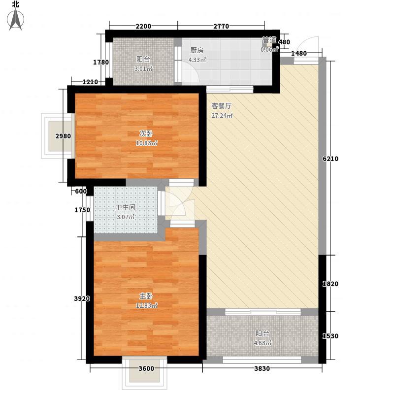民百家园F户型:两房两厅一卫,98.73平米_调整大小户型2室2厅1卫1厨