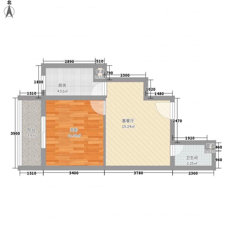 华都嘉苑54.60㎡1#楼B户型1室1厅1卫1厨