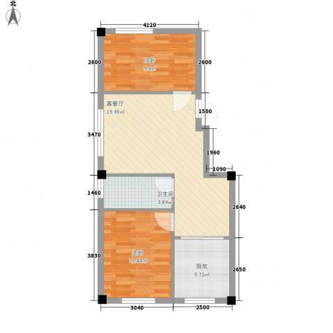 鹏辉裕景轩2室1厅1卫1厨69.00㎡户型图