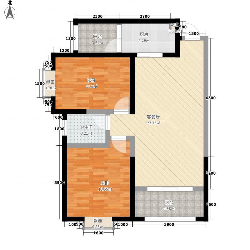F户型:两房两厅一卫,98.73平米