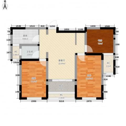 水晶城3室1厅1卫1厨81.00㎡户型图