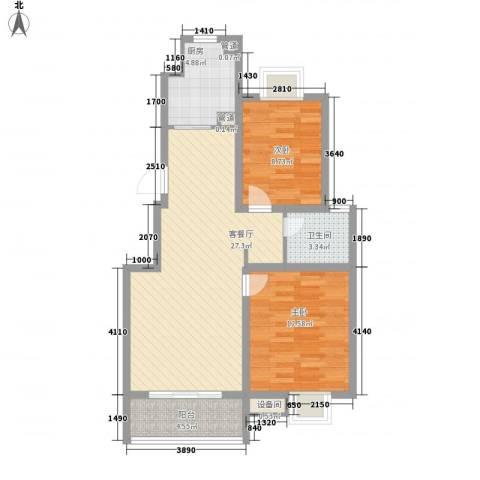 天鹅湖花园2室1厅1卫1厨90.00㎡户型图