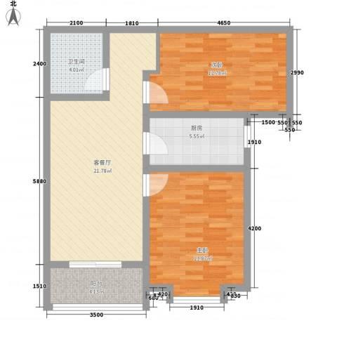曦城2室1厅1卫1厨89.00㎡户型图