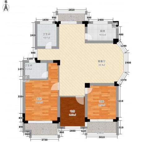 学墅丽邦3室1厅2卫1厨123.00㎡户型图