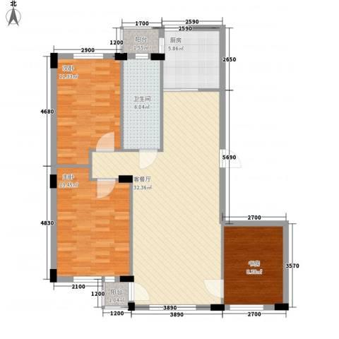 鹏辉裕景轩3室1厅1卫1厨112.00㎡户型图
