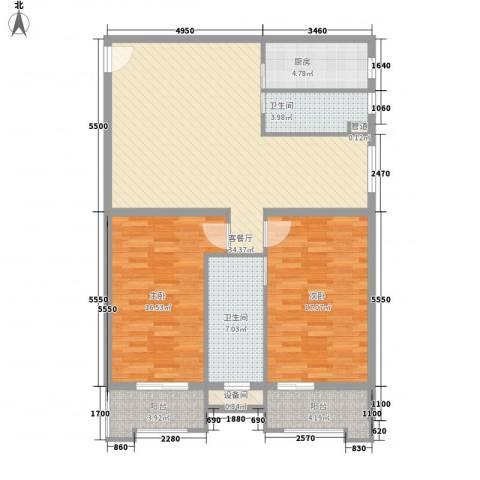 东福金座2室1厅2卫1厨130.00㎡户型图