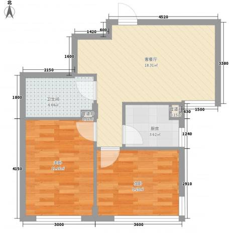 安邦阳光尚城2室1厅1卫1厨68.00㎡户型图
