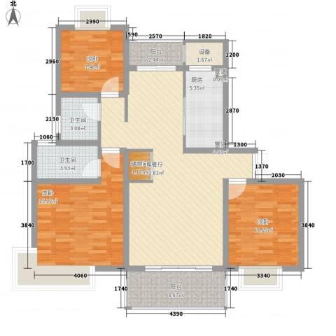 鹏欣一品漫城四期公寓3室1厅2卫1厨130.00㎡户型图