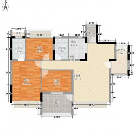 幸福枫景花园3室1厅2卫1厨108.00㎡户型图