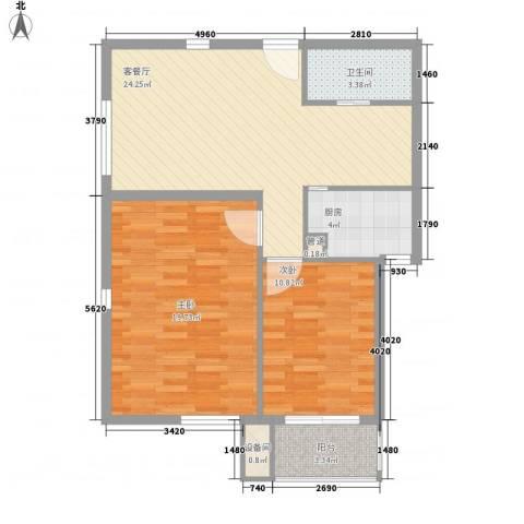 东福金座2室1厅1卫1厨93.00㎡户型图
