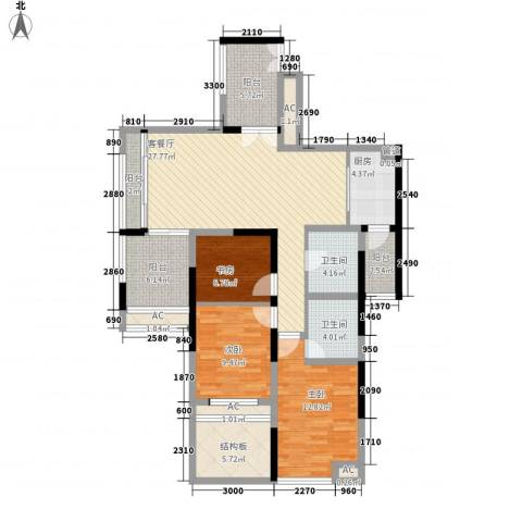 世纪明园3室1厅2卫1厨142.00㎡户型图