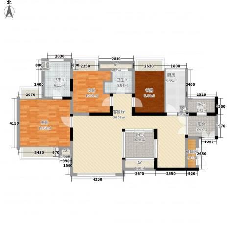 世纪明园3室1厅2卫1厨151.00㎡户型图
