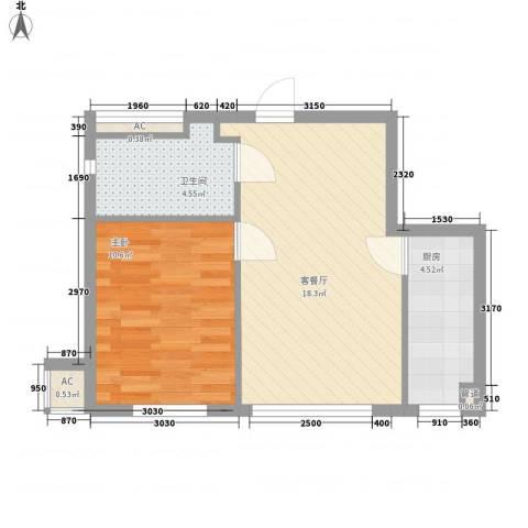 安邦阳光润城1室1厅1卫1厨55.00㎡户型图