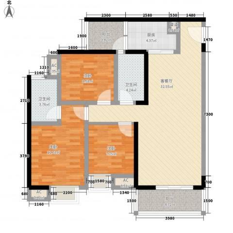 大兴新悦城3室1厅2卫1厨115.00㎡户型图