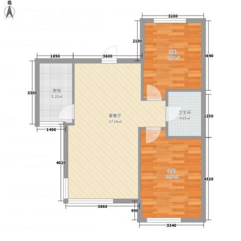 安邦阳光尚城2室1厅1卫1厨85.00㎡户型图