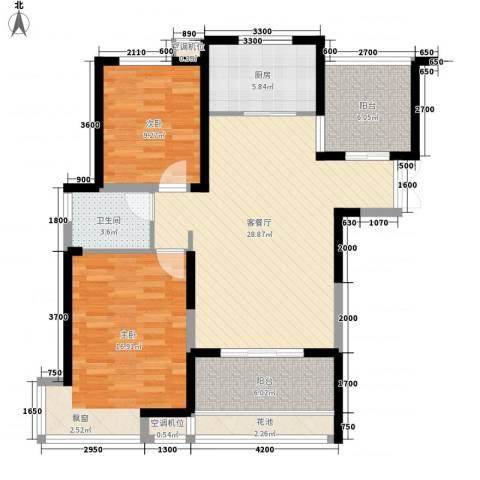 蓝鼎滨湖假日清华园2室1厅1卫1厨115.00㎡户型图