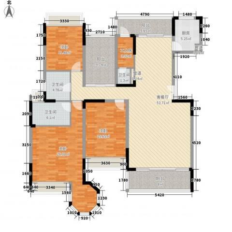 花样年君山别墅3室1厅3卫1厨171.35㎡户型图
