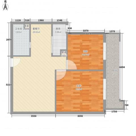 东福金座2室1厅1卫1厨92.00㎡户型图