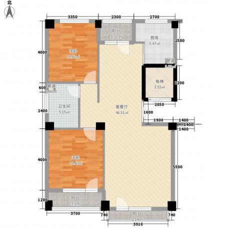 美辰臻品2室1厅1卫1厨119.00㎡户型图
