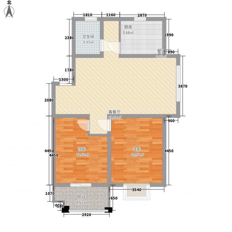 绿洲花园88.38㎡绿洲花园户型图四期2#AB4户型2室2厅1卫1厨户型2室2厅1卫1厨