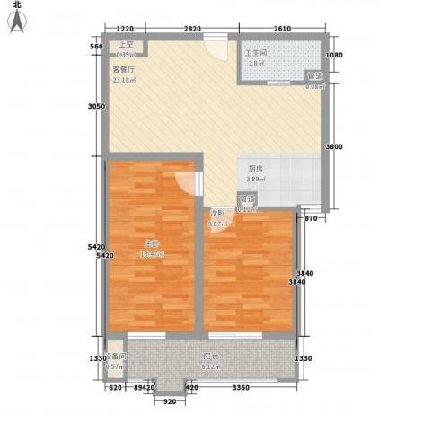 东福金座2室1厅1卫0厨81.00㎡户型图