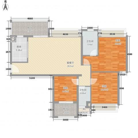 东晖广场3室1厅2卫1厨141.00㎡户型图