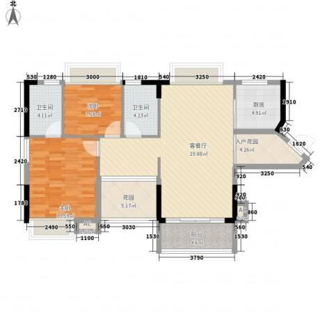 诚丰新园2室1厅2卫1厨89.94㎡户型图