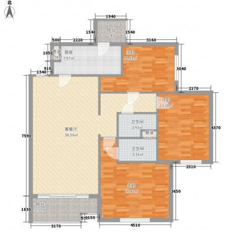 北苑家园莲葩园3室1厅2卫1厨138.00㎡户型图