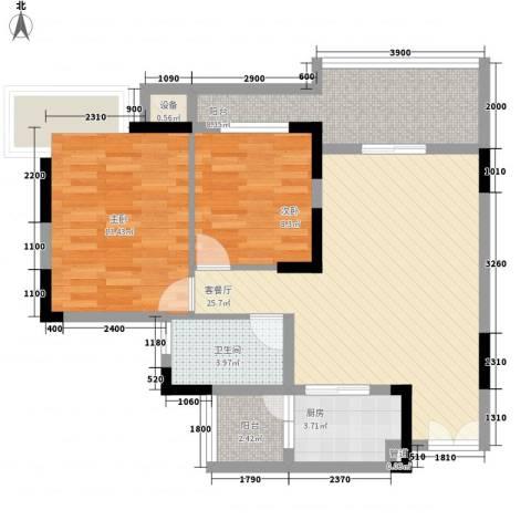幸福枫景花园2室1厅1卫1厨78.00㎡户型图