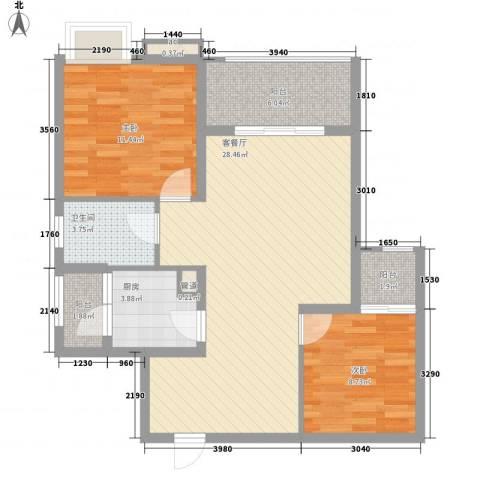 宝铼雅居2室1厅1卫1厨85.00㎡户型图