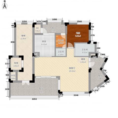 江南世家别墅1室1厅2卫1厨115.00㎡户型图