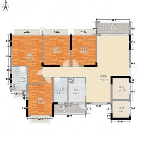 元邦明月金岸4室1厅2卫1厨160.00㎡户型图