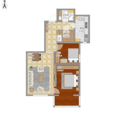 兆丰园一区(秀蝶双座)2室1厅1卫1厨98.00㎡户型图