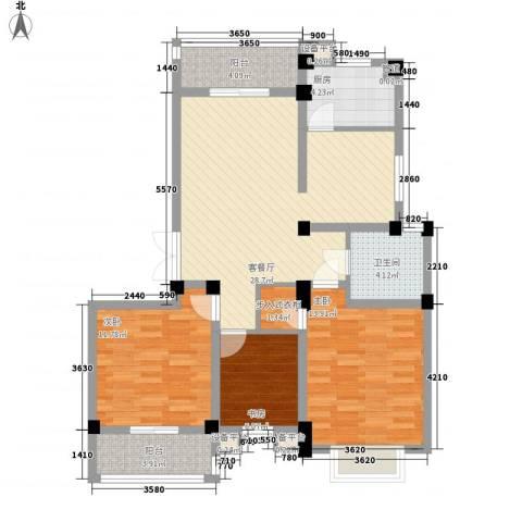 九五花园3室1厅1卫1厨117.00㎡户型图
